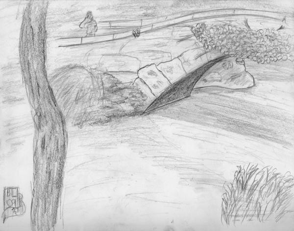 Central Park Bridge: Bridge and Landscape.  In Central Park.  Almost impressionistic (well, as much as you can be with pencil).